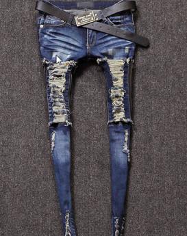 Deep-blue-fringe-jeans-1