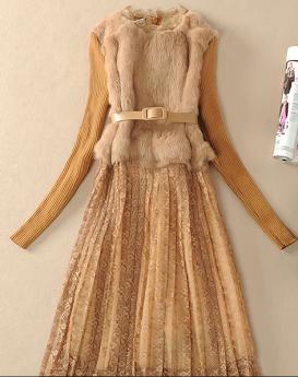 rabbit-fur-skir- long-sleeved-dress-1